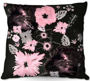 Unique Outdoor Pillow 16X16 from DiaNoche Designs by Julie Ansbro - Black Pink Flowers