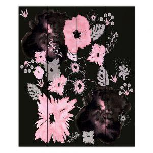 Decorative Wood Plank Wall Art | Julie Ansbro - Black Pink Flowers