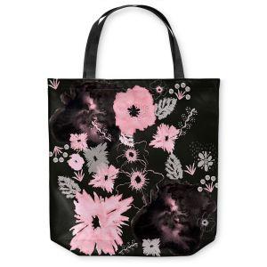 Unique Shoulder Bag Tote Bags | Julie Ansbro - Black Pink Flowers