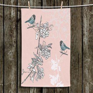 Unique Hanging Tea Towels | Julie Ansbro - Blue TIT Bird | Birds Flowers Branches