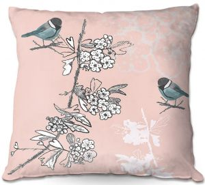Decorative Outdoor Patio Pillow Cushion | Julie Ansbro - Blue TIT Bird