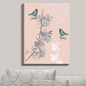Decorative Canvas Wall Art | Julie Ansbro - Blue TIT Bird | Birds Flowers Branches