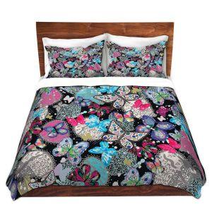 Artistic Duvet Covers and Shams Bedding | Julie Ansbro - Butterflies Black