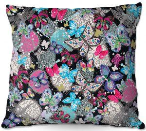 Throw Pillows Decorative Artistic | Julie Ansbro - Butterflies Black