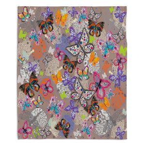Decorative Fleece Throw Blankets | Julie Ansbro - Butterflies Brown