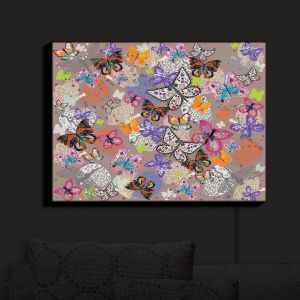 Nightlight Sconce Canvas Light | Julie Ansbro - Butterflies Brown | Butterflies Patterns