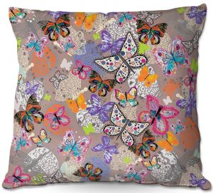 Throw Pillows Decorative Artistic | Julie Ansbro - Butterflies Brown