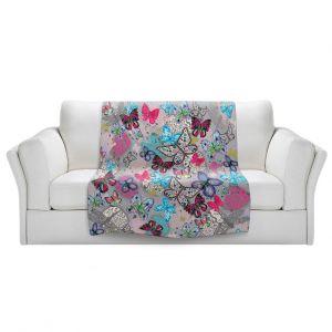 Artistic Sherpa Pile Blankets | Julie Ansbro - Butterflies Grey