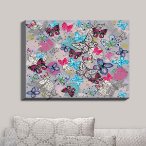 Decorative Canvas Wall Art | Julie Ansbro - Butterflies Grey | Butterflies Patterns