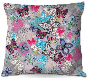 Throw Pillows Decorative Artistic | Julie Ansbro - Butterflies Grey