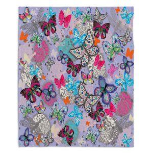 Decorative Fleece Throw Blankets | Julie Ansbro - Butterflies Lilac