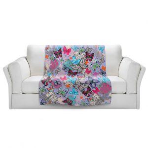 Artistic Sherpa Pile Blankets | Julie Ansbro - Butterflies Lilac