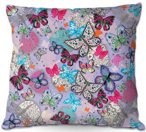 Throw Pillows Decorative Artistic | Julie Ansbro - Butterflies Lilac