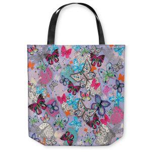 Unique Shoulder Bag Tote Bags |Julie Ansbro - Butterflies Lilac