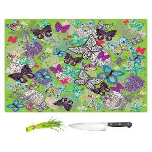 Artistic Kitchen Bar Cutting Boards | Julie Ansbro - Butterflies Lime