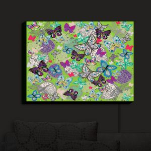 Nightlight Sconce Canvas Light | Julie Ansbro - Butterflies Lime | Butterflies Patterns