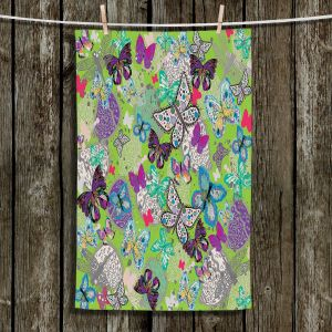 Unique Bathroom Towels | Julie Ansbro - Butterflies Lime