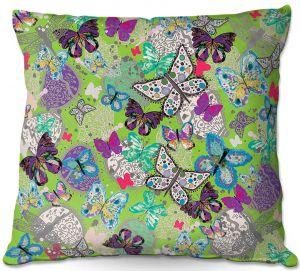 Decorative Outdoor Patio Pillow Cushion | Julie Ansbro - Butterflies Lime