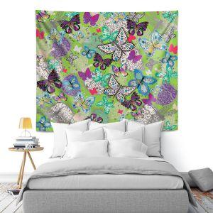 Artistic Wall Tapestry   Julie Ansbro - Butterflies Lime