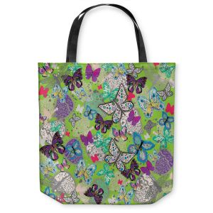 Unique Shoulder Bag Tote Bags |Julie Ansbro - Butterflies Lime