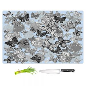 Artistic Kitchen Bar Cutting Boards | Julie Ansbro - Butterflies Pale Blue