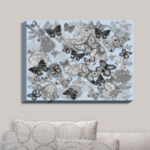 Decorative Canvas Wall Art | Julie Ansbro - Butterflies Pale Blue | Butterflies Patterns