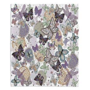 Decorative Fleece Throw Blankets | Julie Ansbro - Butterflies Pale Green