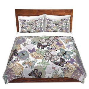 Artistic Duvet Covers and Shams Bedding | Julie Ansbro - Butterflies Pale Green