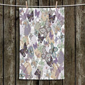 Unique Hanging Tea Towels | Julie Ansbro - Butterflies Pale Green | Butterflies Patterns
