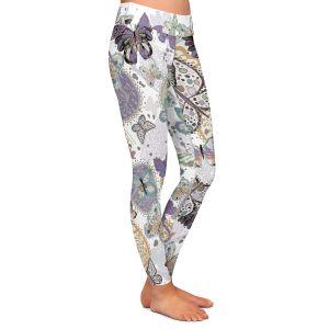 Casual Comfortable Leggings | Julie Ansbro - Butterflies Pale Green