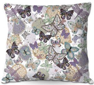 Decorative Outdoor Patio Pillow Cushion | Julie Ansbro - Butterflies Pale Green
