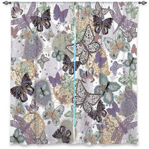Unique Window Curtains Unlined 40w x 61h from DiaNoche Designs by Julie Ansbro - Butterflies Pale Green
