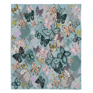 Artistic Sherpa Pile Blankets | Julie Ansbro - Butterflies Pastel Turquoise