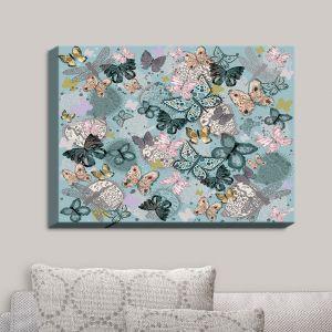 Decorative Canvas Wall Art | Julie Ansbro - Butterflies Pastel Turquoise | Butterflies Patterns