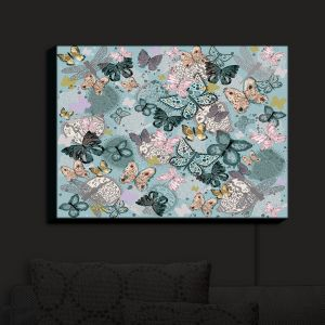 Nightlight Sconce Canvas Light | Julie Ansbro - Butterflies Pastel Turquoise | Butterflies Patterns