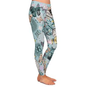 Casual Comfortable Leggings | Julie Ansbro - Butterflies Pastel Turquoise