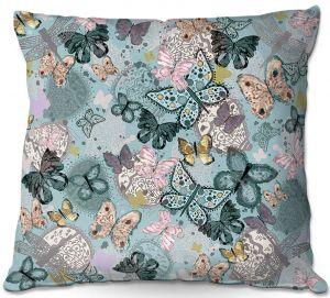 Throw Pillows Decorative Artistic | Julie Ansbro - Butterflies Pastel Turquoise