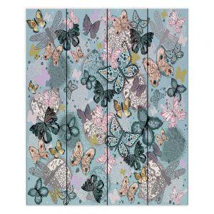 Decorative Wood Plank Wall Art  Julie Ansbro - Butterflies Pastel Turquoise
