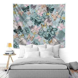 Artistic Wall Tapestry | Julie Ansbro - Butterflies Pastel Turquoise