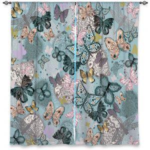 Decorative Window Treatments | Julie Ansbro - Butterflies Pastel Turquoise