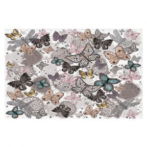 Decorative Floor Coverings | Julie Ansbro - Butterflies Pastel White