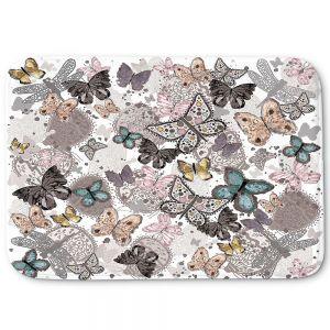 Decorative Bathroom Mats | Julie Ansbro - Butterflies Pastel White