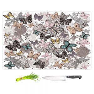 Artistic Kitchen Bar Cutting Boards | Julie Ansbro - Butterflies Pastel White