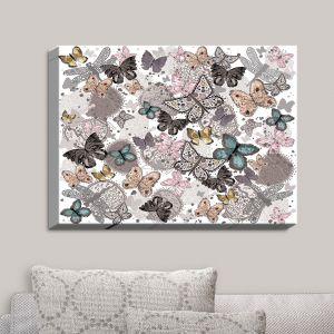 Decorative Canvas Wall Art | Julie Ansbro - Butterflies Pastel White | Butterflies Patterns