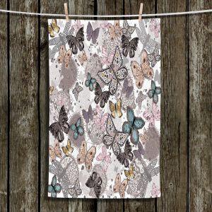 Unique Hanging Tea Towels | Julie Ansbro - Butterflies Pastel White | Butterflies Patterns