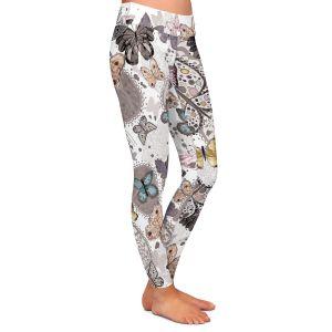 Casual Comfortable Leggings | Julie Ansbro - Butterflies Pastel White