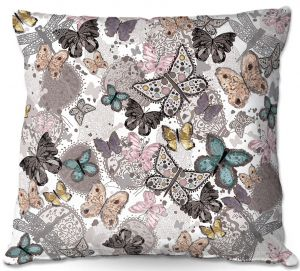 Decorative Outdoor Patio Pillow Cushion | Julie Ansbro - Butterflies Pastel White