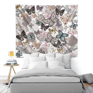 Artistic Wall Tapestry | Julie Ansbro - Butterflies Pastel White