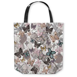 Unique Shoulder Bag Tote Bags |Julie Ansbro - Butterflies Pastel White