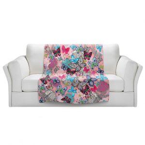 Artistic Sherpa Pile Blankets | Julie Ansbro - Butterflies Pink